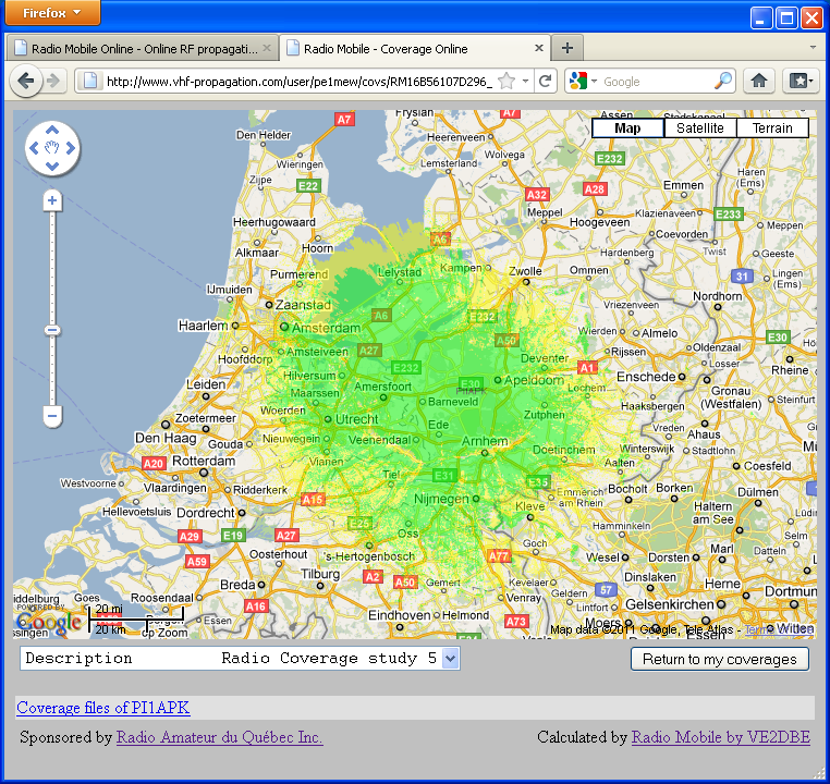 Radio Mobile Online - Online RF propagation simulation software